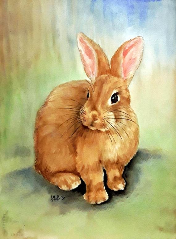 How To Paint A Rabbit : paint, rabbit, Brown, Rabbit, Watercolor, Painting, Original