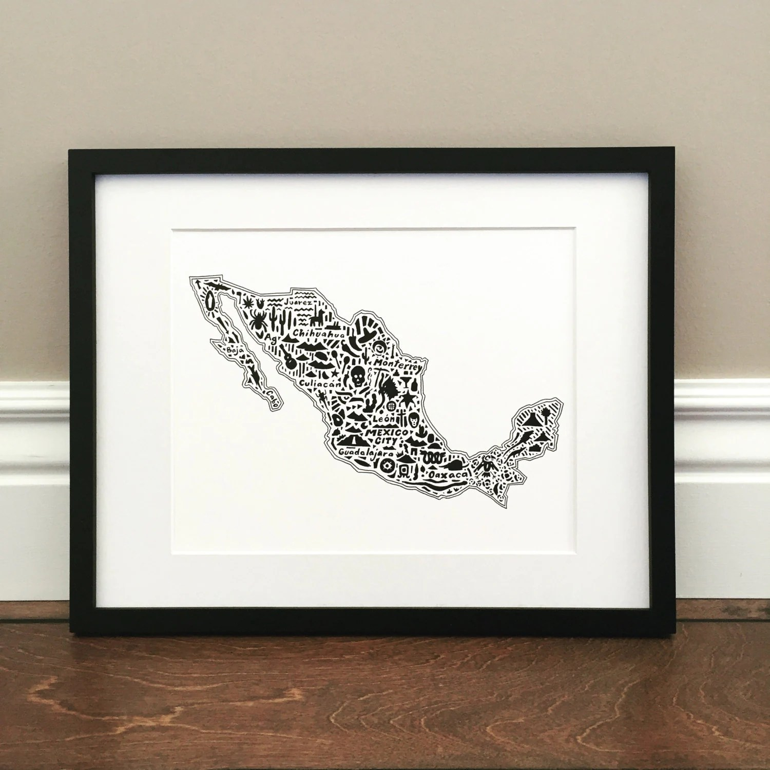 Mexico Map Art Print Signed 8 5 X 11 Print Of
