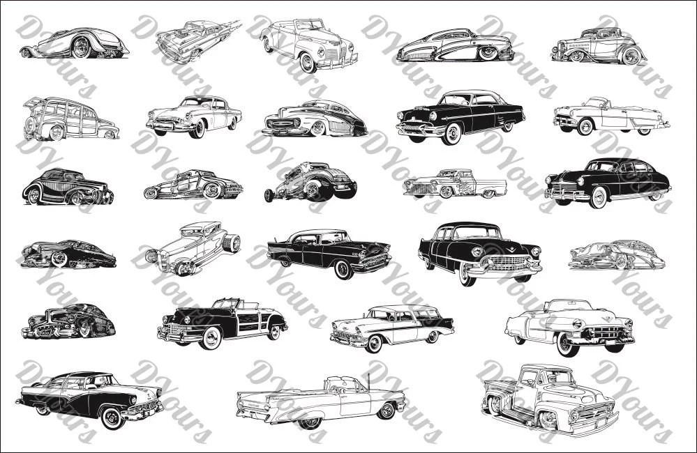 Auto retrò 27 modelli di Vector Vintage svg cdr ai pdf jpg