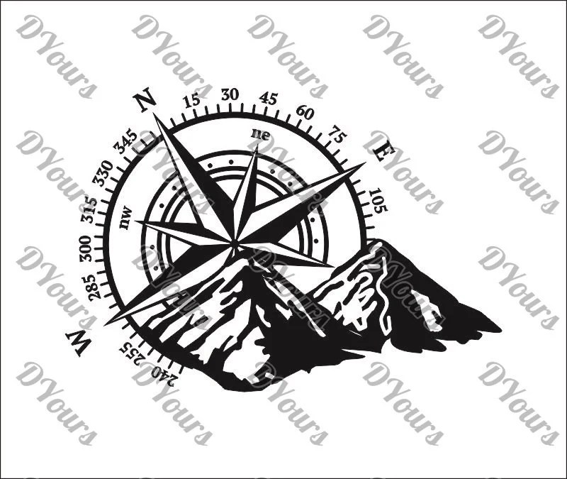 moutains and compass detailed