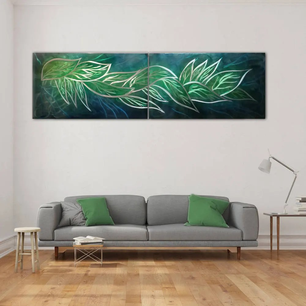 contemporary artwork living room rustic modern decor metal wall art home leaves painting etsy image 0