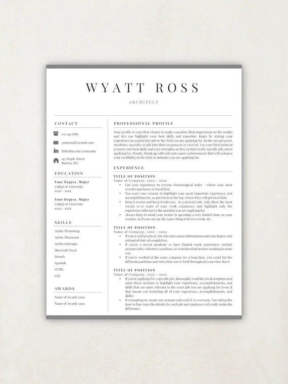 Find & download free graphic resources for cv template. Professional Resume Template Resume Template Instant Etsy