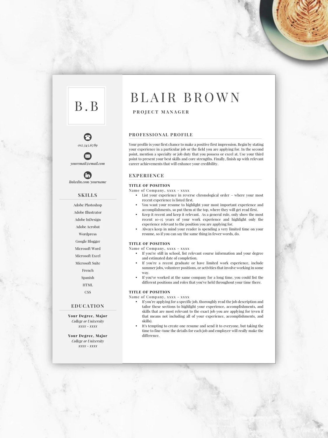 Resume Templates For Word Free Professional Resume Template Free Resume Template Resume Template Instant Download Resumes Cover Letter References Included Mac Pc
