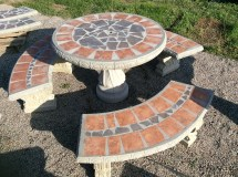 Patio Table Set Outdoor 42 Concrete
