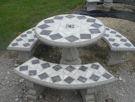 cement patio table set garden tables picnic table set etsy