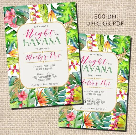 night in havana invitations