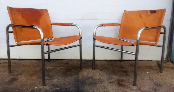 leather chrome chair deep tissue massage vintage and sling chairs etsy image 0