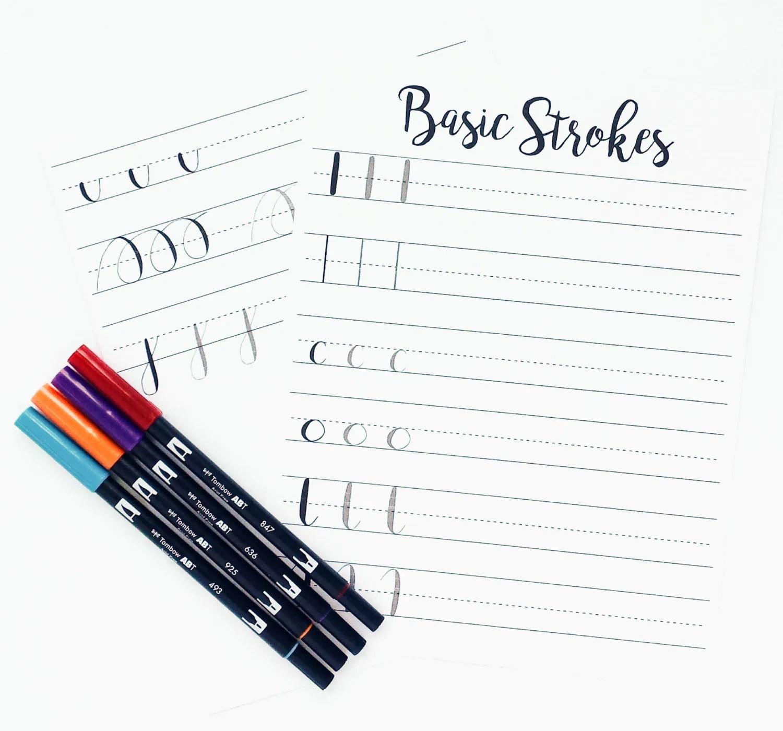Brush Lettering Practice Worksheets Basic Strokes Basic