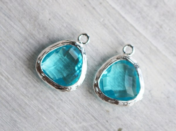 2 Pieces Aquamarine Color Framed Charm Birthstone Pendant