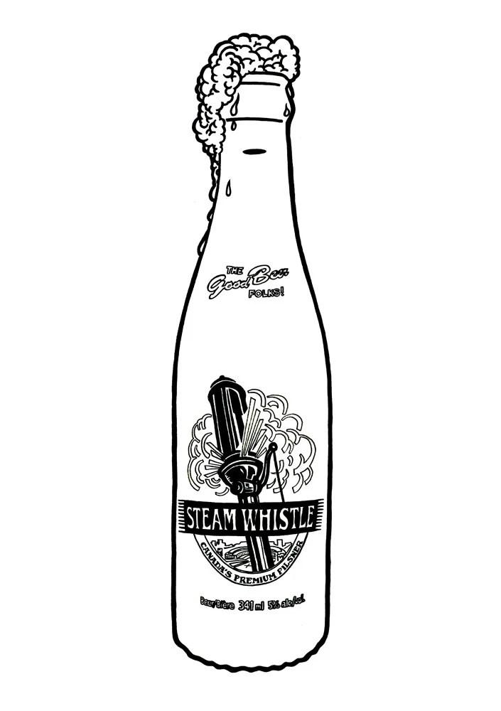 Steam Whistle Pilsner bottle Hand-drawn illustration print
