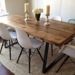 Rustic Kitchen Tables Latest Designs Industrial Table Etsy Vintage Reclaimed Plank Top Dining With Triangle Steel Base Handmade Uk