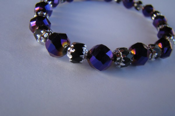 Purple Crystal Bracelet With Black And Silver Toned