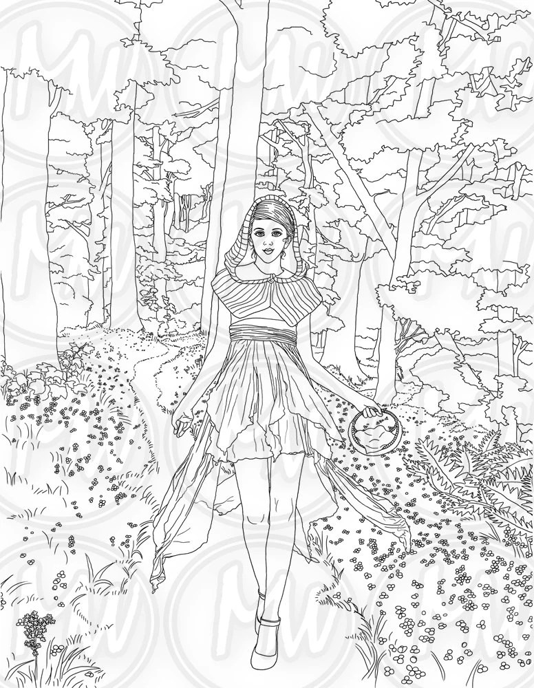 Red Riding Hood Adult Coloring Page Woman Girl