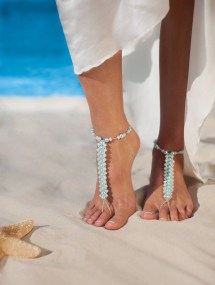 Blue Barefoot Sandals Beach Wedding Bridal Shoes Footless