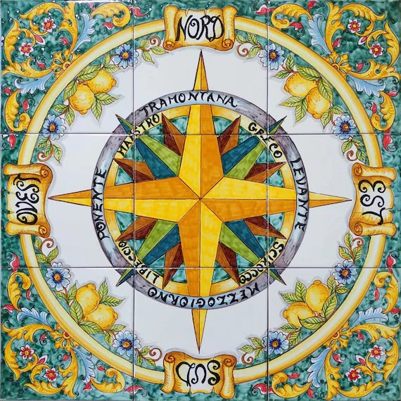 tile compass rose art for your floor and wall compass decor etsy