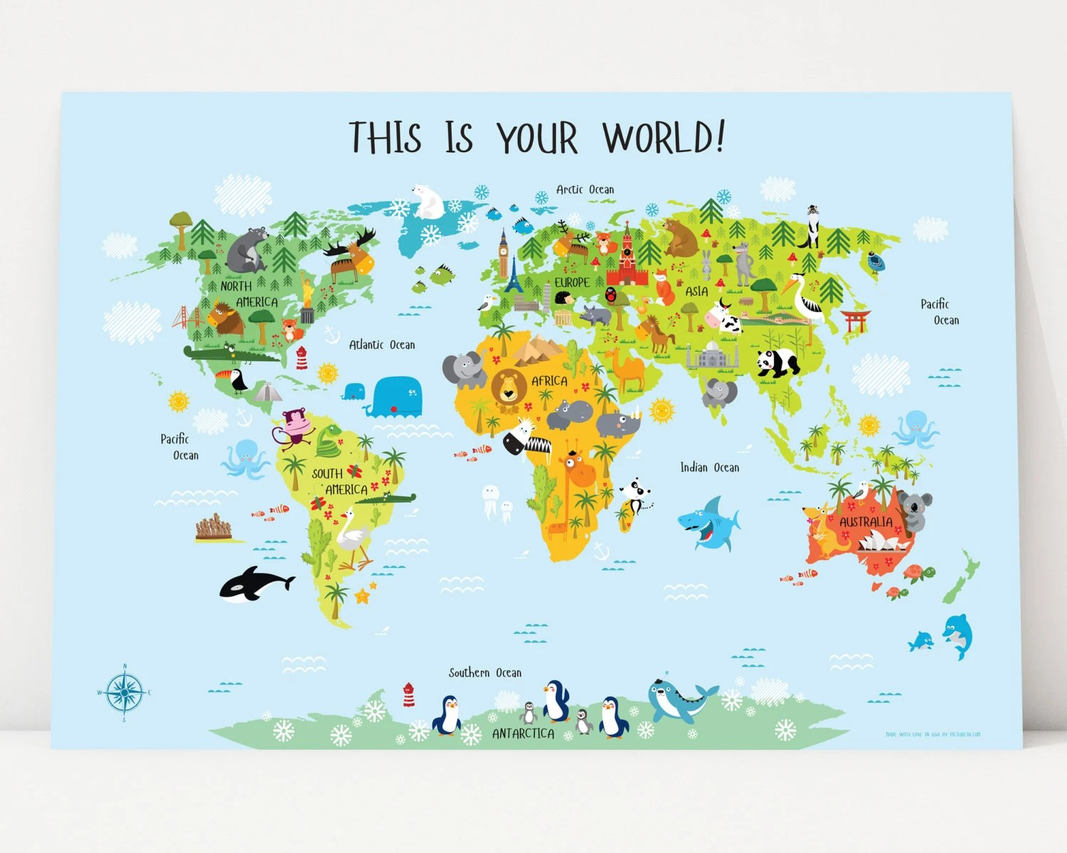 Printable Wall Art World Map Instant Download Nursery