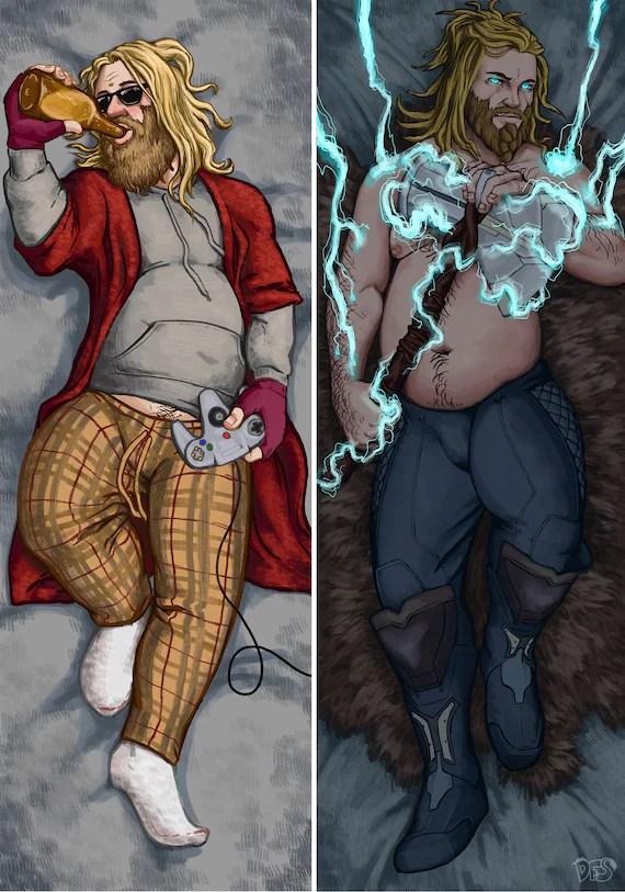 avengers endgame fat thor dakimakura marvel cinematic universe mcu comics body pillow pillowcase norse god