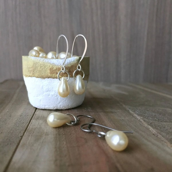 Faux Pearl Earrings Sterling Silver Pure Titanium