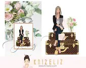 Fashion Girl Illustration - Fashion illustration print - personalized gifts for her -  women art illustration - gift ideas for her - travel