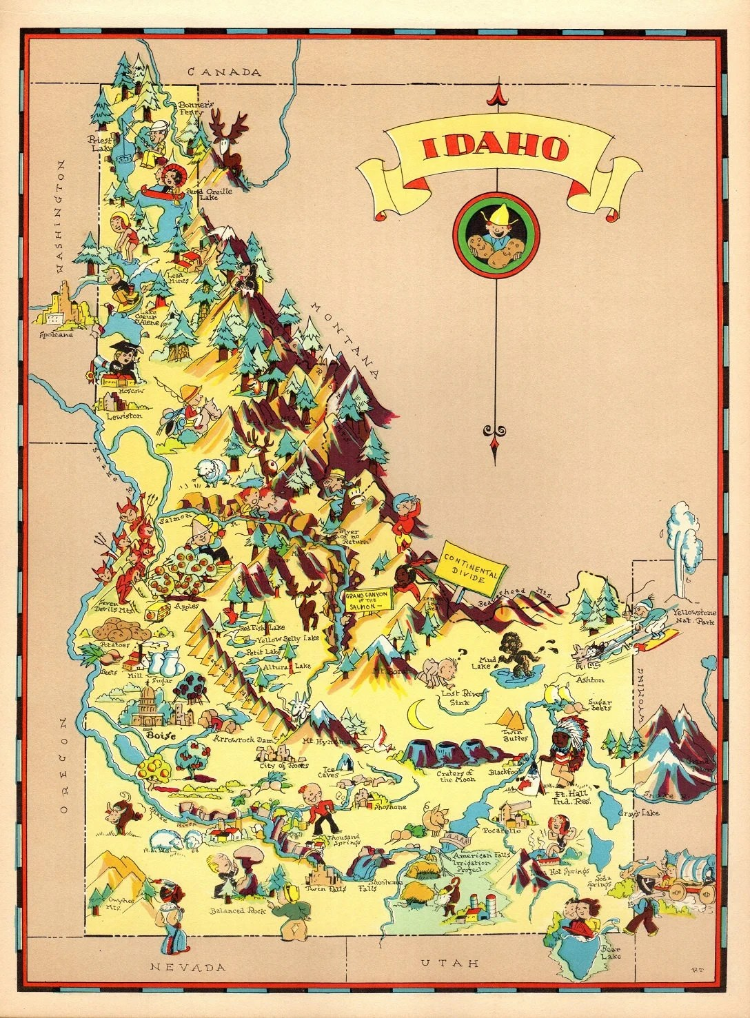 S Vintage Idaho Picture Map State Cartoon Map Print