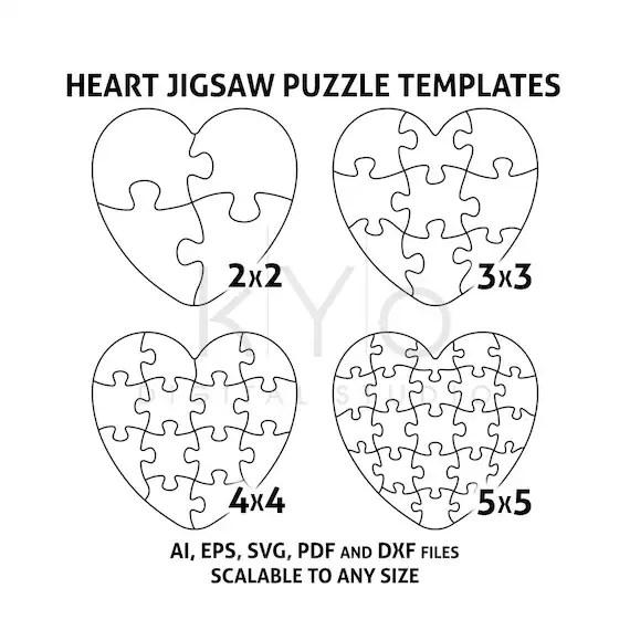 Heart Jigsaw Puzzle Templates AI EPS SVG pdf dxf files