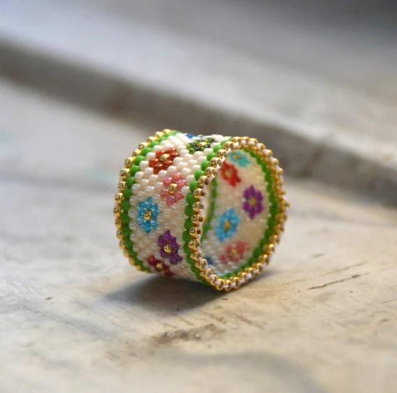 Perlen Ring Ring Ring fr den Mittelfinger Ringfinger  Etsy