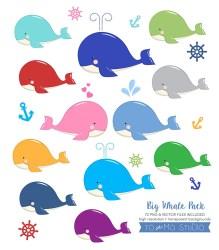 whale clip invitation vectors
