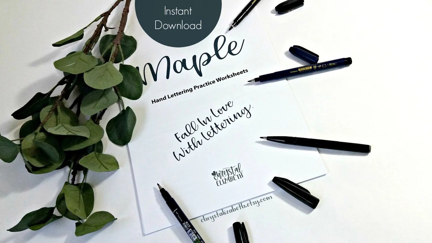 Maple Style Hand Lettering Worksheets Basic Lower And Upper