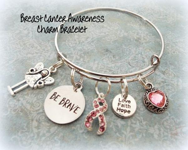 Survivor Breast Cancer Charm Bracelet Pink Ribbon
