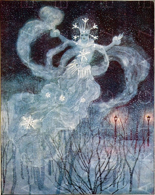 Stunning Snow Queen Vintage Illustration. Winter Fairy Tale