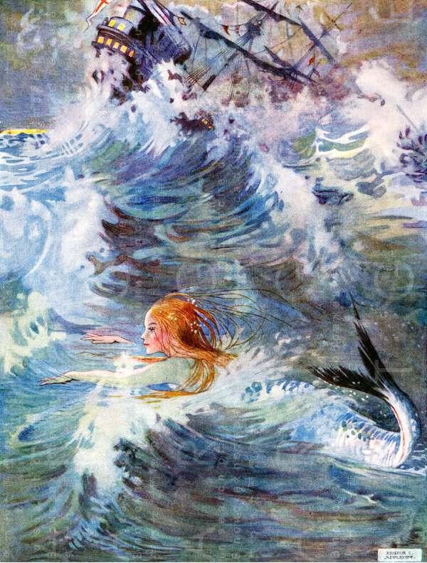 Stunning Little Mermaid Vintage Illustration. 1900'
