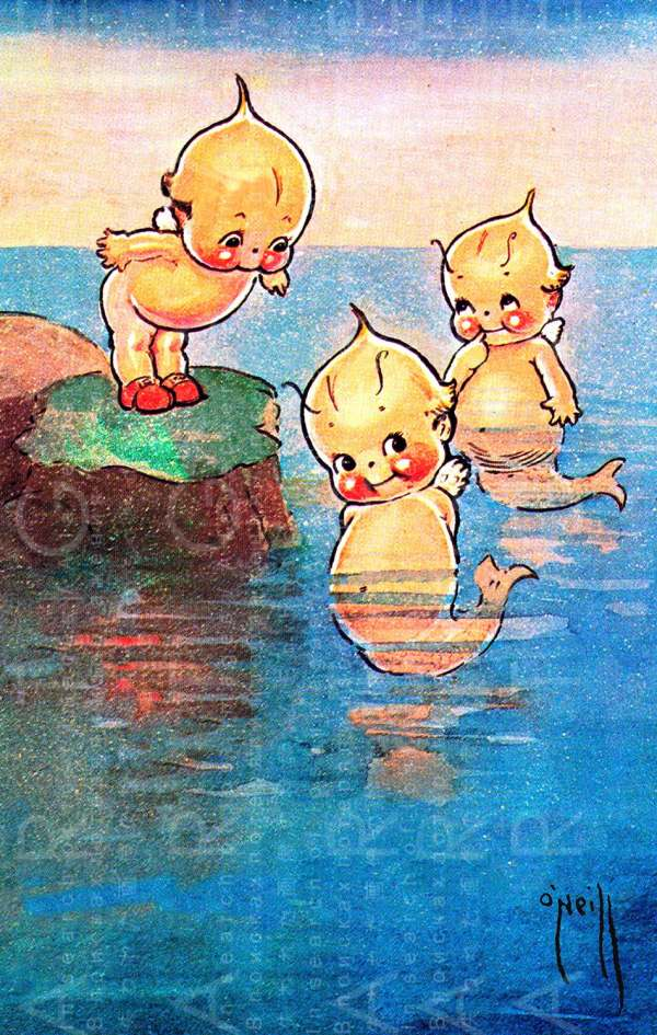 Kewpie Mermaids Vintage Illustration. Rose 'neill