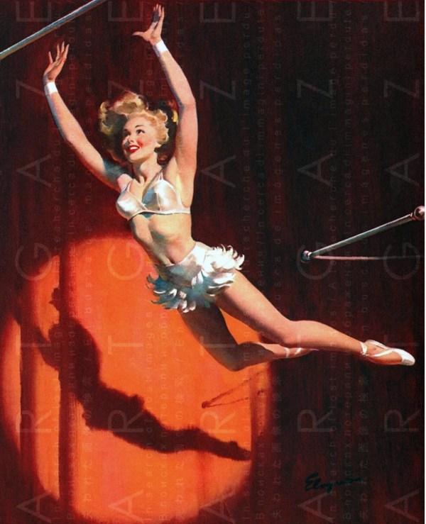 Vintage Circus Art Print Acrobat Fab Trapeze Artist
