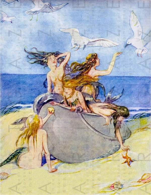 Mermaids & Seagulls Vintage Illustration