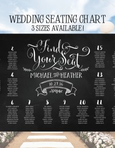 Wedding seating chart poster board chalkboard also elegant table assignments digital file etsy rh