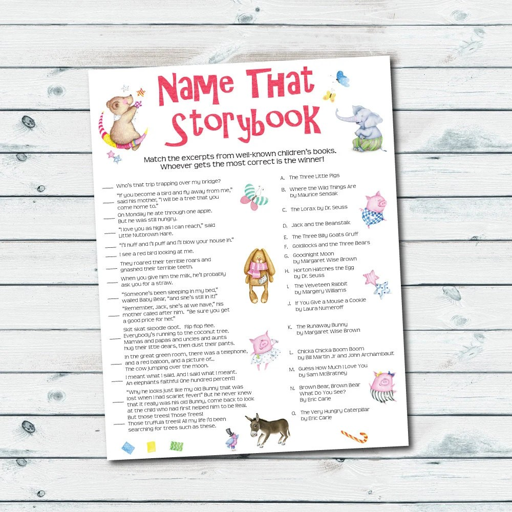 storybook baby shower games