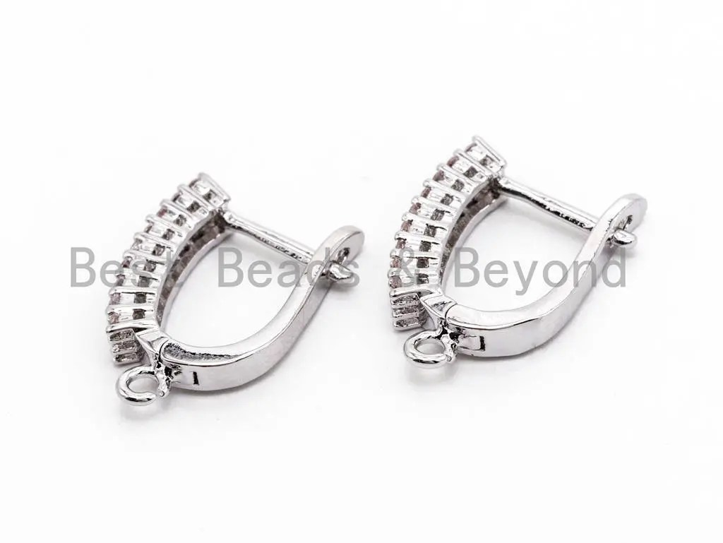 Cz Micro Pave Double Cz Stud Latch Back Earring Wires Leverback Ear Wires Huggie Ear Wire