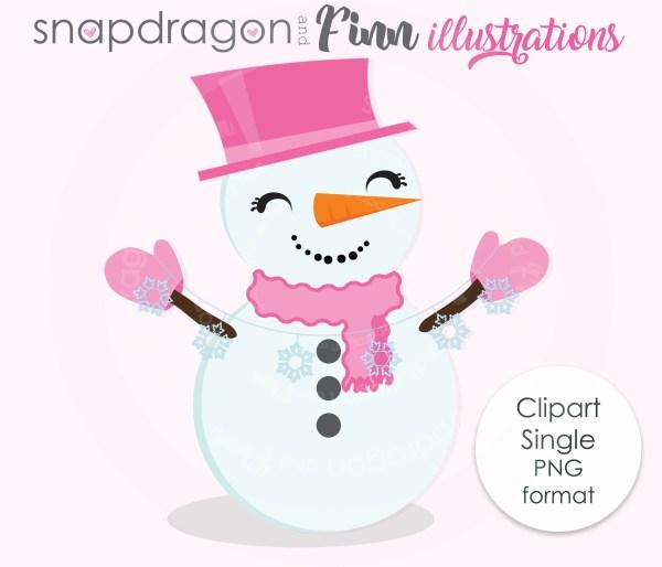Snowman Clipart Cute Digital Winter