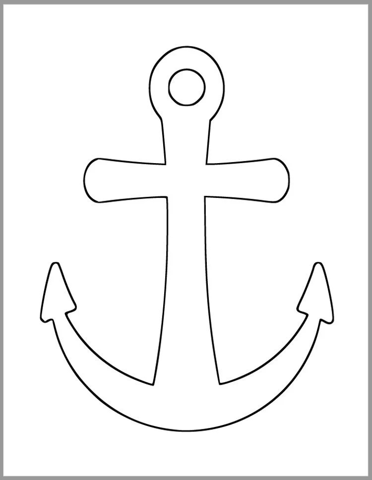 9 inch Printable Anchor Template-Beach Theme Cutout
