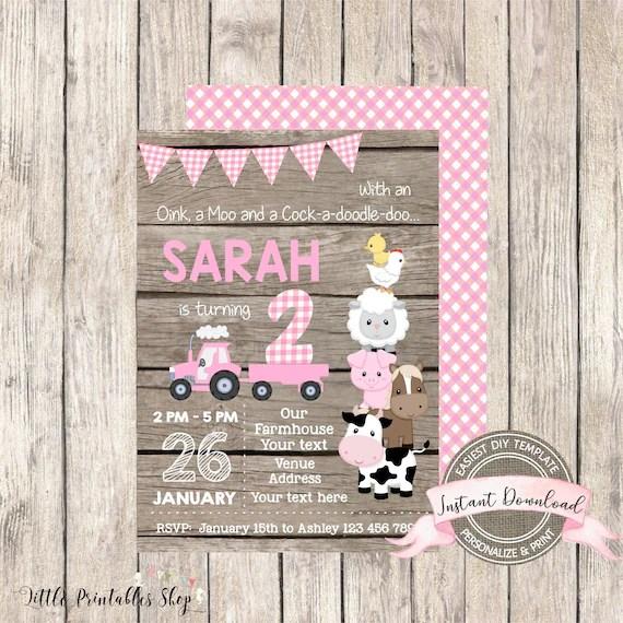 farm birthday invitation for girl