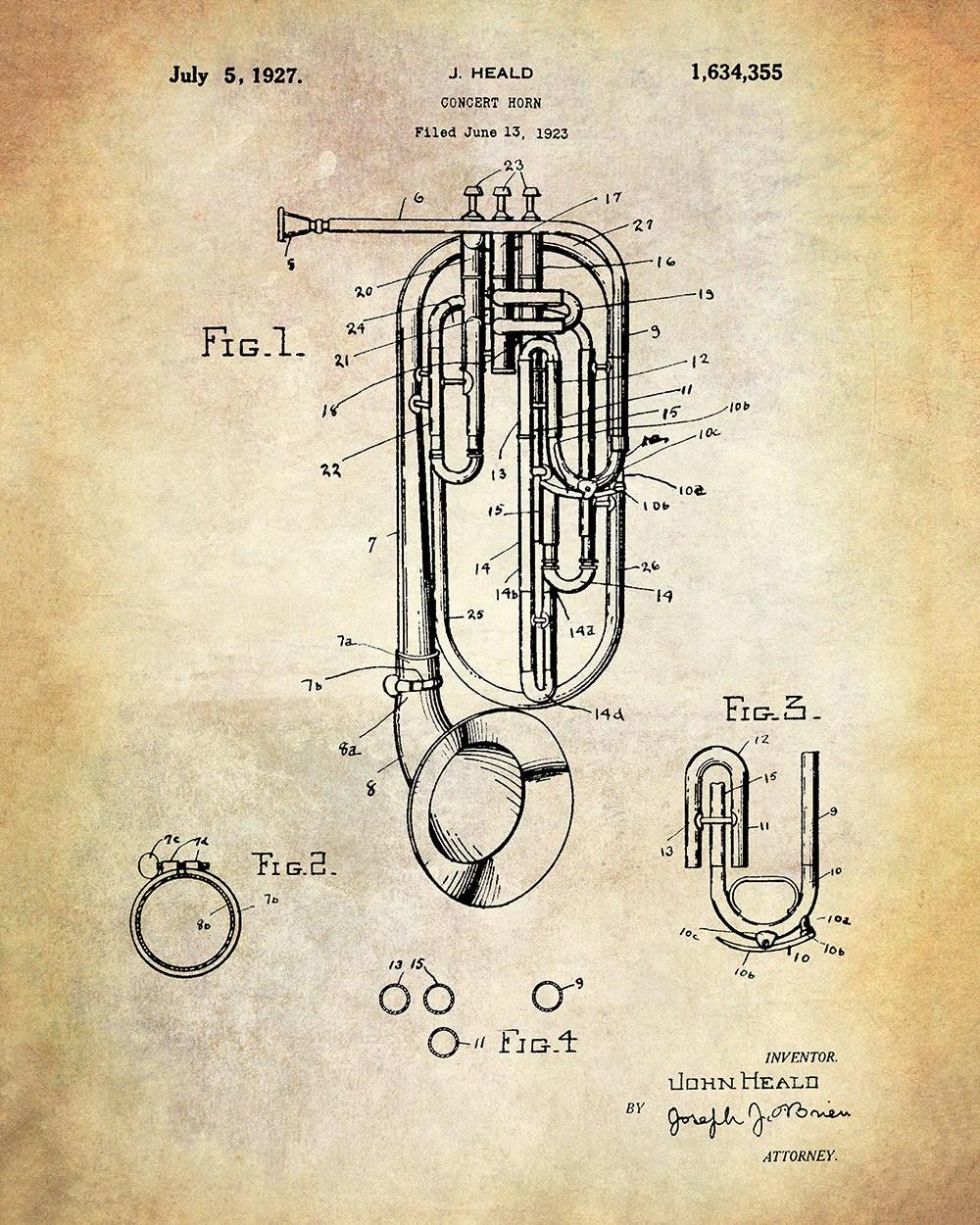 hight resolution of patent art print heald concert horn musical instrument patent art print brass musical instrument patent art print john head patent