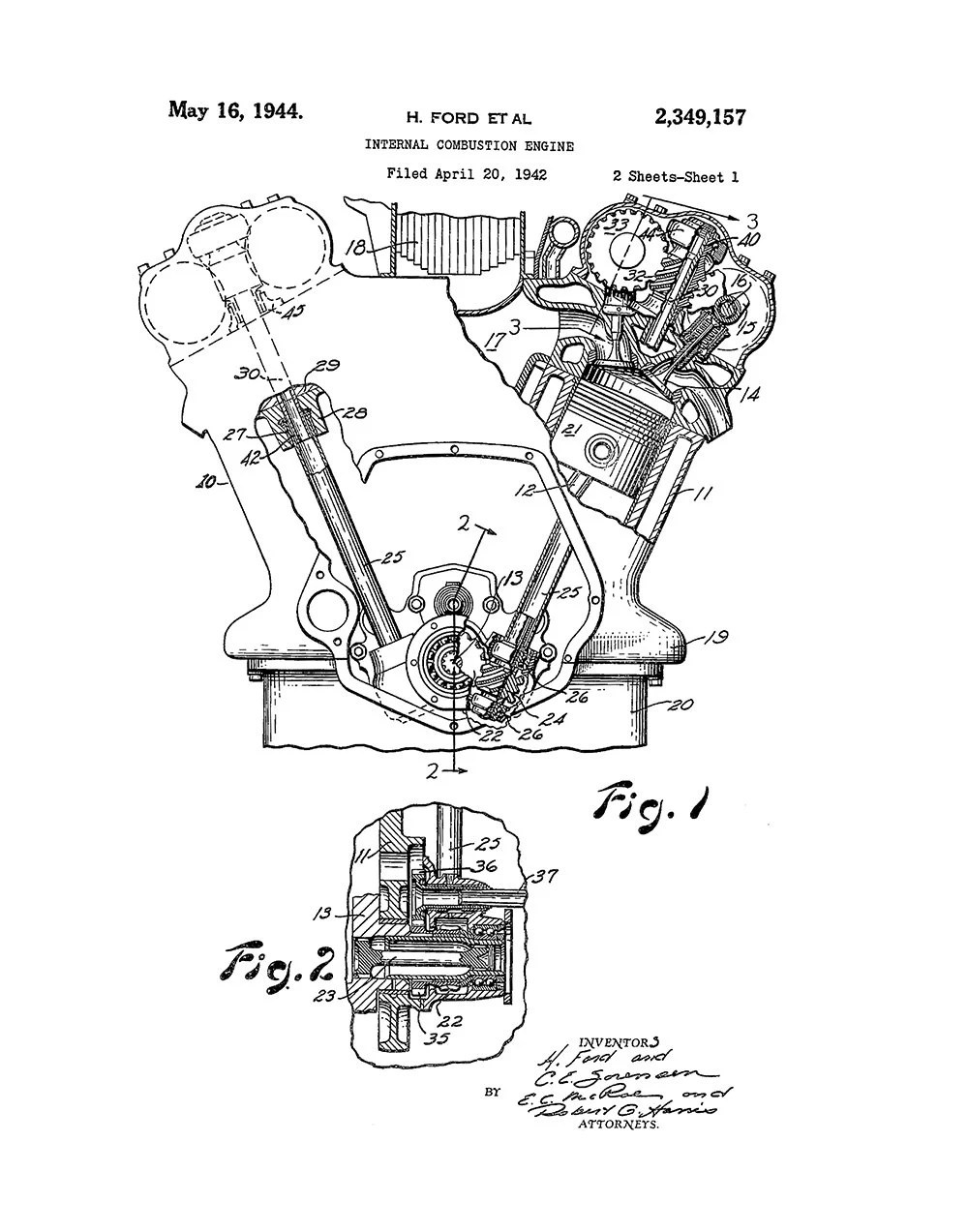 Ford Internal Combustion Engine Patent Art Print