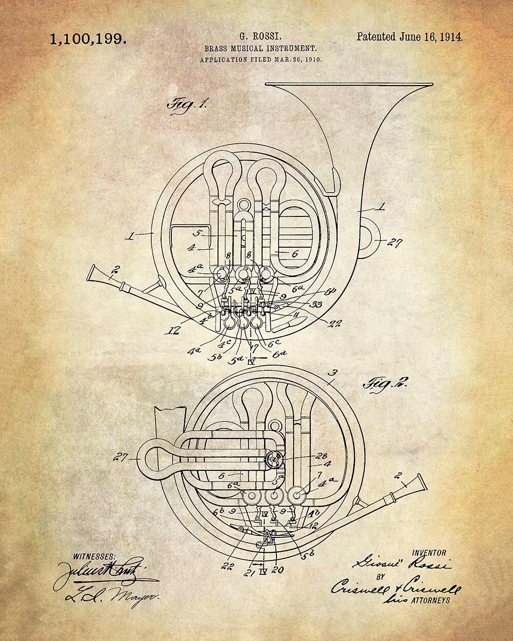 medium resolution of brass musical instrument patent art print french horn patent art print rossi brass musical instrument patent art print music patent