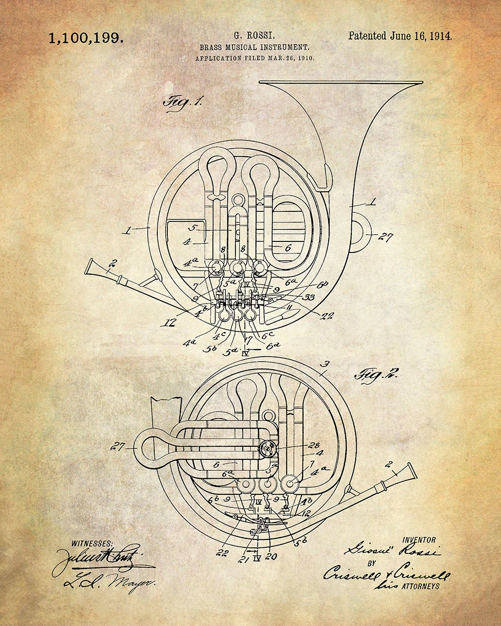 hight resolution of brass musical instrument patent art print french horn patent art print rossi brass musical instrument patent art print music patent
