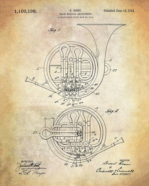 small resolution of brass musical instrument patent art print french horn patent art print rossi brass musical instrument patent art print music patent