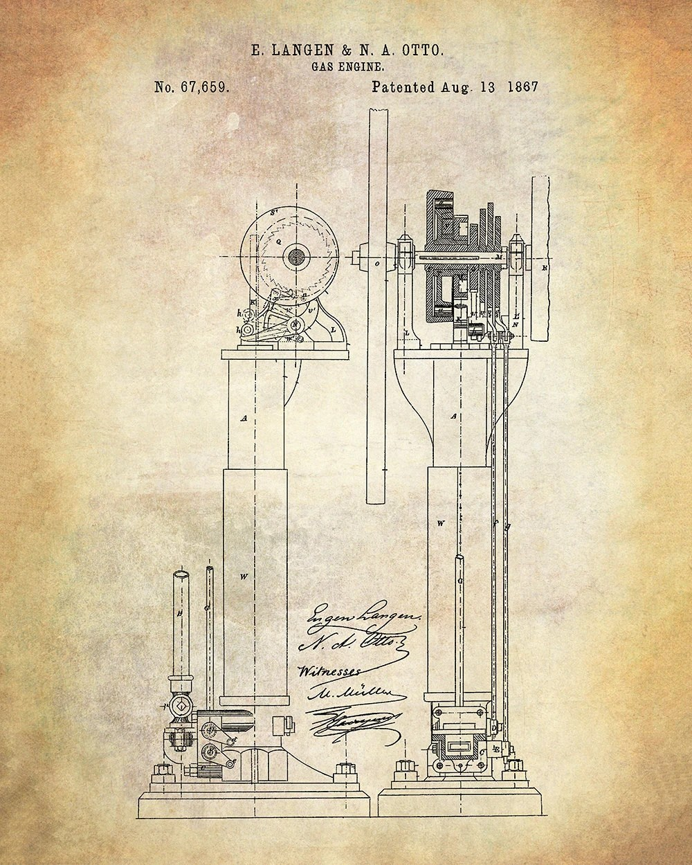 hight resolution of langen otto improvements in air engines patent art print langen otto patent print gas engine patent print internal combustion engine