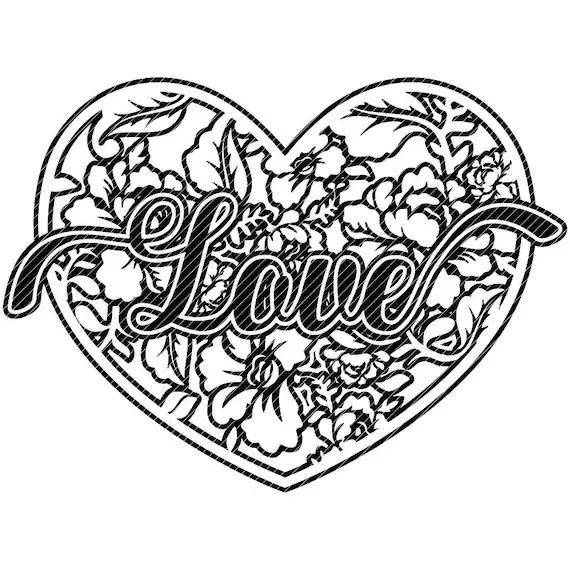 Download Damask LOVE heart floral Valentines mandala svg clipart | Etsy