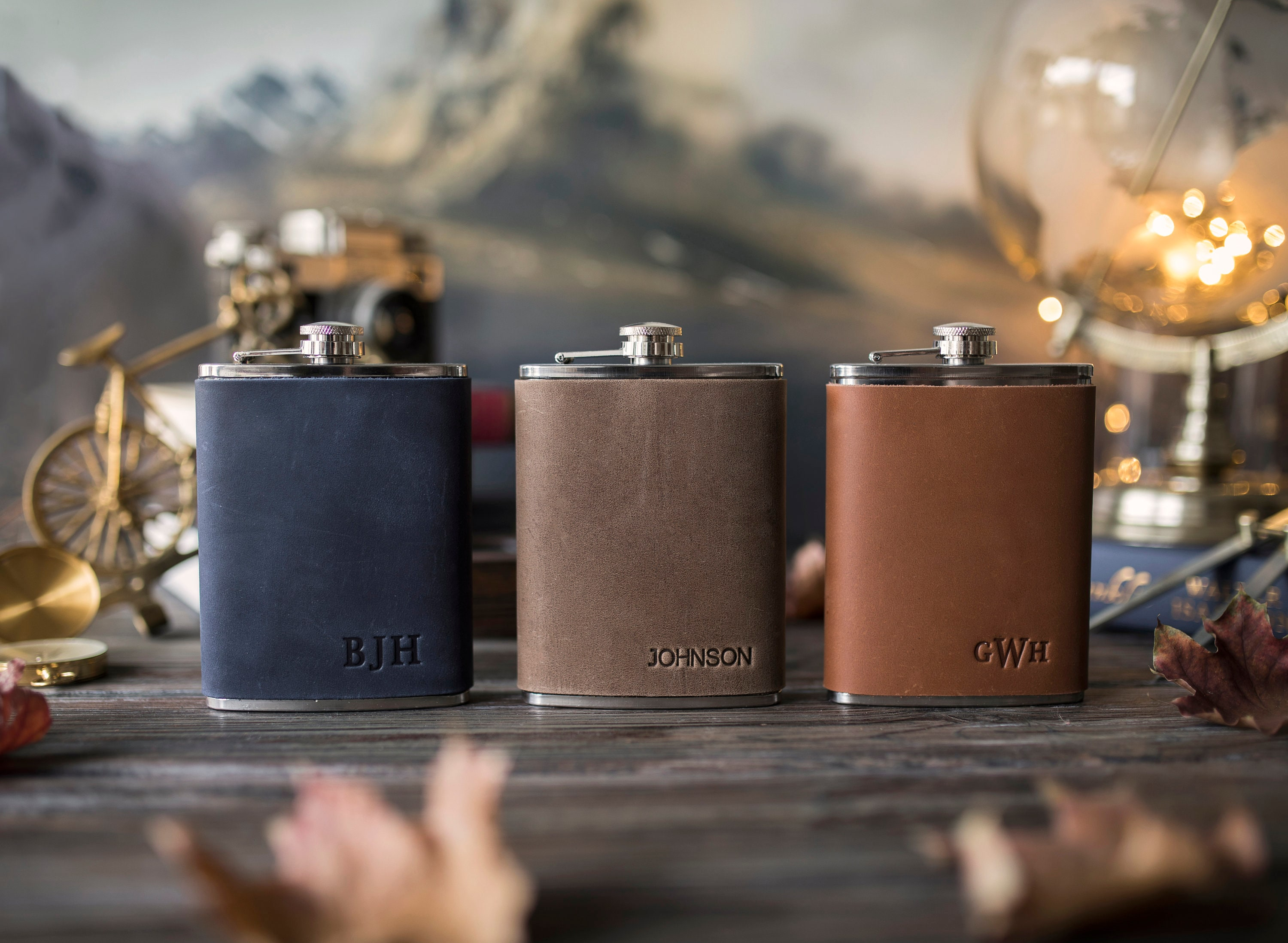 Leather hip flask personalized Leather flask for men image 7