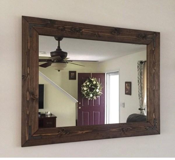 Espresso Mirror Farmhouse Wood Frame Rustic