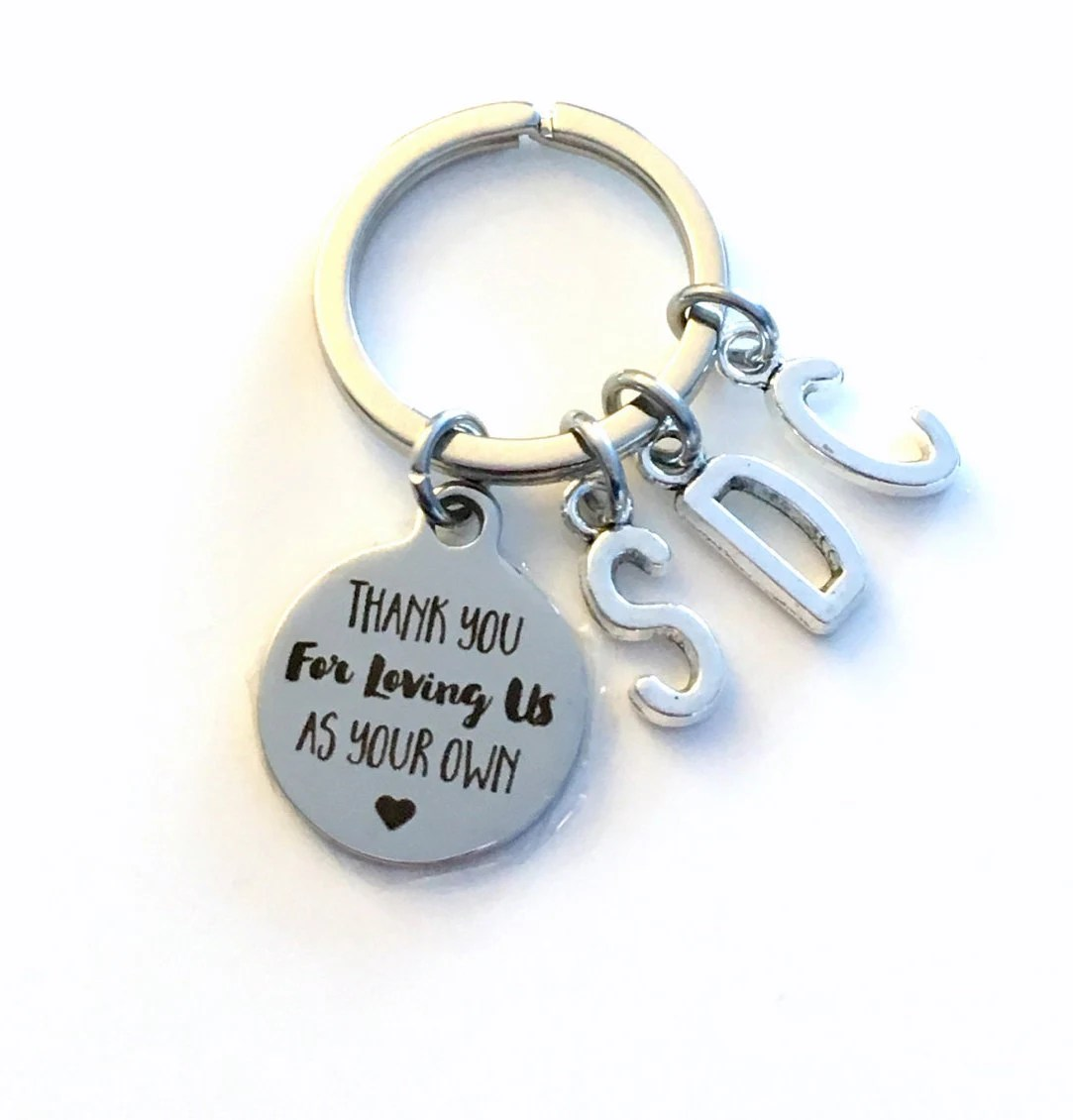 Step Dad Gift Thank you for loving me as your own KeyChain